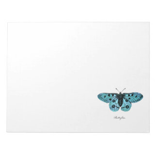 Vintage Teal Blue Butterfly Illustration - 1800's Notepad