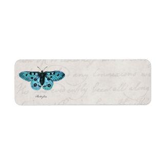 Vintage Teal Blue Butterfly Illustration -1800's Return Address Label