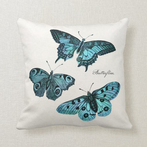 Vintage Teal Blue Butterfly Illustration Template Throw Pillows