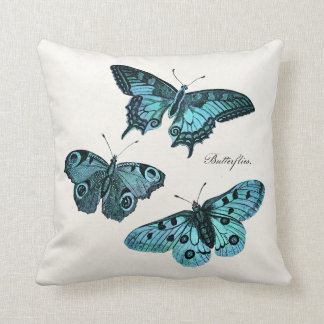 Vintage Teal Blue Butterfly Illustration Template Throw Pillow