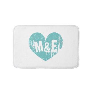 Vintage teal blue heart design monogram bath mat bath mats