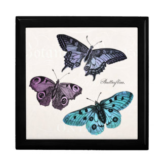 Vintage Teal Blue Purple Pink Butterfly Drawing Large Square Gift Box