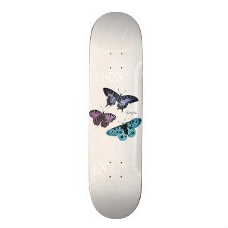 Vintage Teal Blue Purple Pink Butterfly Drawing Skate Decks