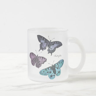 Vintage Teal Blue Purple Pink Butterfly Template Frosted Glass Coffee Mug