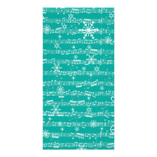 Vintage Teal Christmas Musical Sheet Personalized Photo Card
