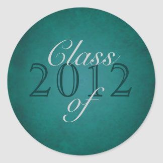 Vintage Teal Class of Silver Graduation Stickerie Stickers