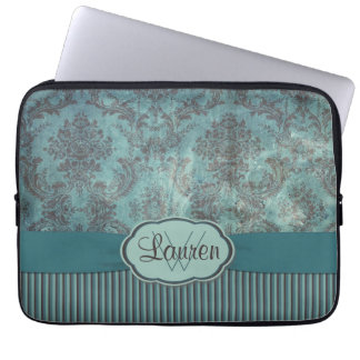 Vintage teal damask monogram laptop sleeve