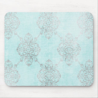 Vintage Teal Damask Mouse Pad
