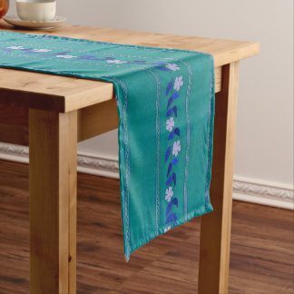Vintage Teal Embroidery Flowers Table Runner