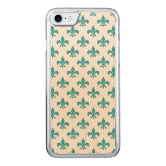 Vintage teal fleur de lis pattern carved iPhone 8/7 case