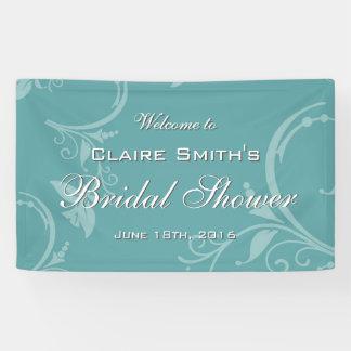 Vintage Teal Floral Welcome Bridal Shower Banner