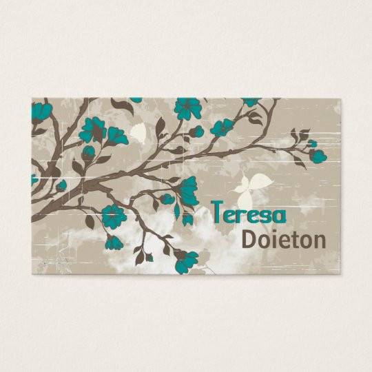 Vintage teal flowers floral grunge taupe business card