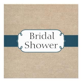 Vintage Teal Green and Beige Burlap Bridal Shower Custom Announcement