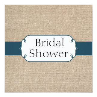 Vintage Teal Green and Beige Burlap Bridal Shower 5.25x5.25 Square Paper Invitation Card