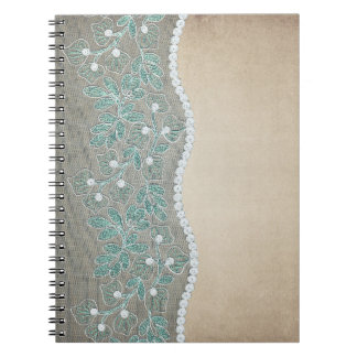 Vintage Teal Lace Embroidery & Pearls Notebook