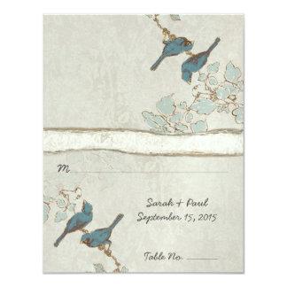 "Vintage Teal Love Birds Wedding PlaceCard 4.25"" X 5.5"" Invitation Card"