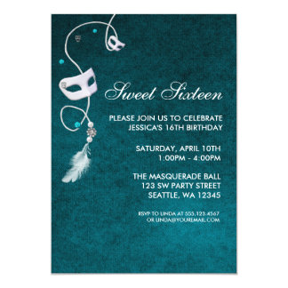 Vintage Teal Masquerade Sweet Sixteen Birthday Custom Invite