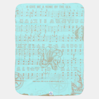 Vintage Teal Nautical Musical Sheet Baby Blanket