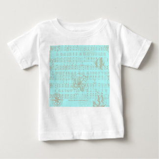 Vintage Teal Nautical Musical Sheet Baby T-Shirt