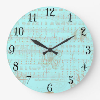 Vintage Teal Nautical Musical Sheet Large Clock