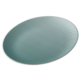 Vintage Teal Ombre Gingham Plate