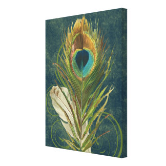 Vintage Teal Peacock Feather Canvas Print