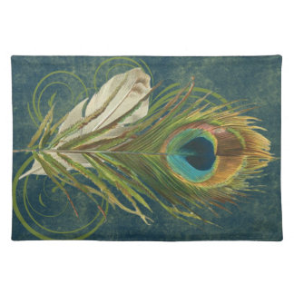 Vintage Teal Peacock Feather Placemat