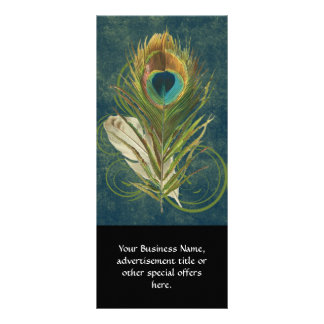 Vintage Teal Peacock Feather Rack Card Template