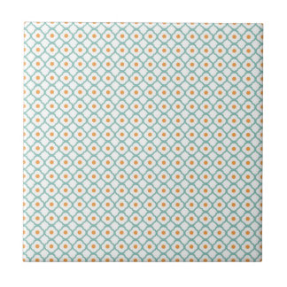 Vintage Teal Quatrefoil and Dots Small Square Tile
