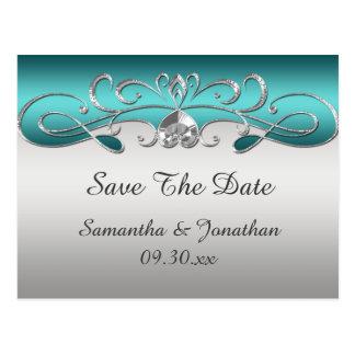Vintage Teal Silver Ornate Swirls Save The Date Postcard