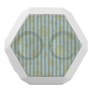 Vintage Teal Stripes Gold French Damask Pattern White Boombot Rex Bluetooth Speaker