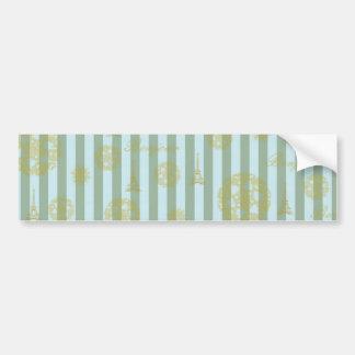 Vintage Teal Stripes Gold French Damask Pattern Bumper Sticker