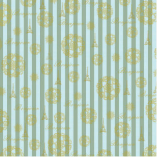 Vintage Teal Stripes Gold French Damask Pattern Cut Outs
