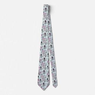 Vintage teal stripes paris collage pink floral tie