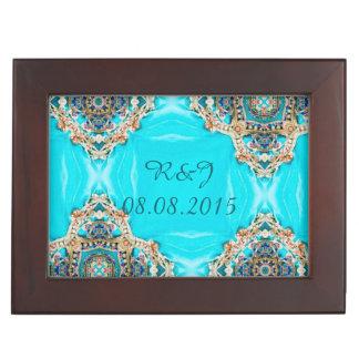 vintage teal turquoise pattern bohemian wedding memory boxes