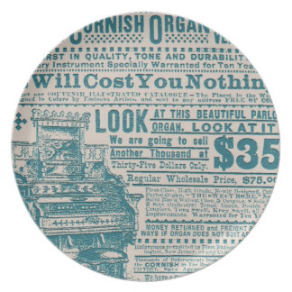 Vintage Teal Typography Cornish Organ Instrument Plate
