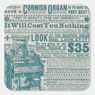 Vintage Teal Typography Cornish Organ Instrument Square Sticker