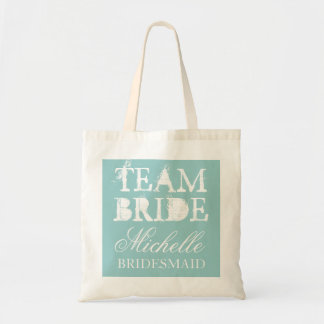 Vintage team bride wedding tote bags | Teal blue