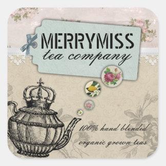 Vintage teapot flower bubble shabby chic tea label square sticker