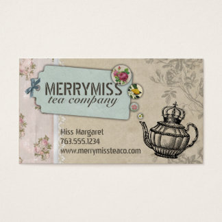 Vintage teapot flower bubbles shabby chic tea business card