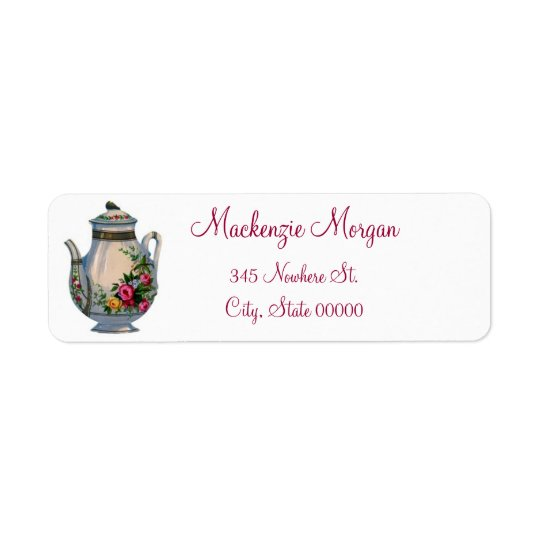 Vintage Teapot Return Address Labels