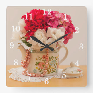 Vintage Teapot Vase of Flowers Square Wall Clock