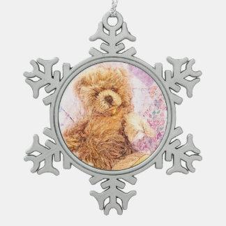 Vintage Teddy Bear Snowflake Pewter Christmas Ornament
