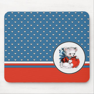 Vintage Teddy Bear Valentine's Day Magnets Mouse Mat
