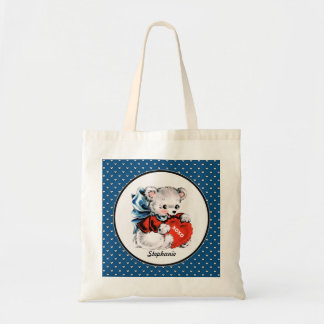 Vintage Teddy Bear Valentine's Day Tote Bags