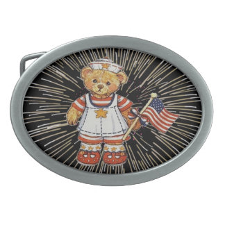 Vintage Teddy Bear with Fireworks Belt Buckle