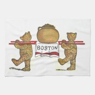 Vintage Teddy Bears Carrying Bean Pot Tea Towels