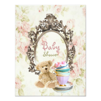 """vintage teddy country baby shower invitations 4.25"""" x 5.5"""" invitation card"""