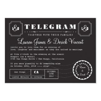 Vintage Telegram Invitation Card in Black