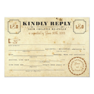Vintage Telegram Libs Response Card 9 Cm X 13 Cm Invitation Card